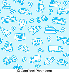 Seamless blue background, white transport icons