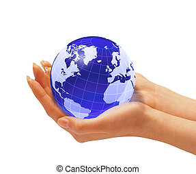 Womans hands holding the earth globe On white background...