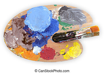 Paints and Paintbrushes - Paint brushes and palette on white...