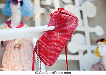 Red leather shoulder handbag - Photo of a Red leather...
