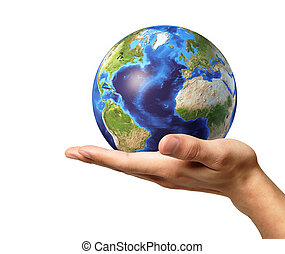 Man hand with earth globe on it. On white background. - Man...
