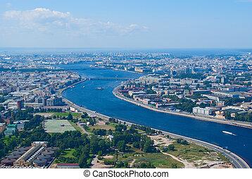 Birdseye view of Neva river