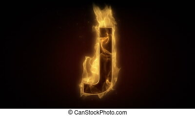 Fiery letter J burning in loop with