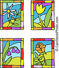 Simple spring flowers. Styled stained glass. Vector...
