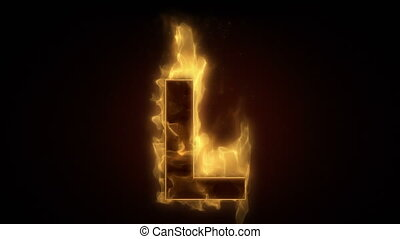 Fiery letter L burning in loop with particles
