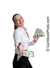 sexy business woman give a dollar with defiance - sexy...