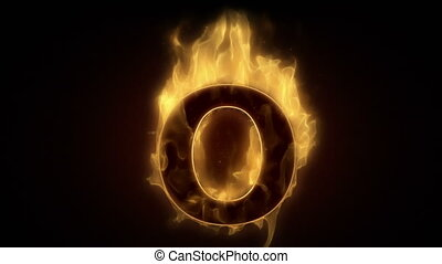 Fiery letter O burning in loop with