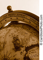 World Old Globe Map - An old globe with the map of the...