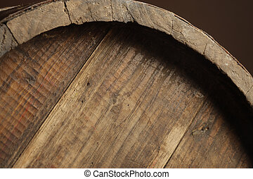 wine barrel - wooden old wine barrel, close up