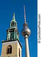 Berlin the television tower and the St Mary church