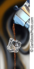 Ice coffee - Coffee machine, moka, pouring coffee through an...