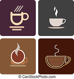 Cup of coffee - Coffee cup - set of isolated vector icons.