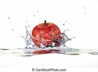 vermelho, maçã, respingue, água, fim,...