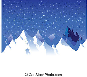 snowy mountain  - vector of a snowy mountain range