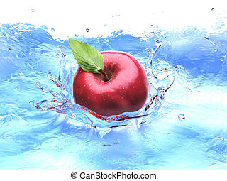 Red apple with leaf, splashing into water. bird eye view.