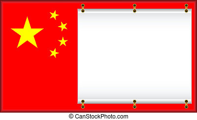 Flag of China. On a flag the banner is located.