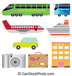 Tourism transport set - Set of transport and tourism on the...