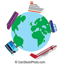 Travel by transport around the world.