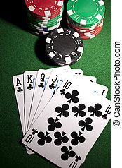 Poker cards and gambling chip