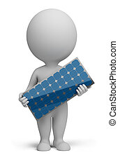 3d small people - solar panel - 3d small person standing...
