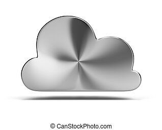 steel cloud 3d image Isolated white background