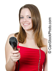 Girl with a microphone isolated on white