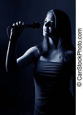 The girl with a microphone
