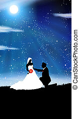 Wedding background -man and woman in the night