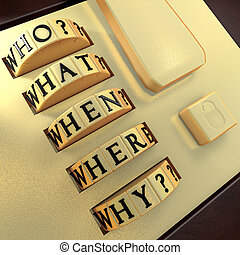 Five Ws: Who? What? Where? When? Why? Answer this question...
