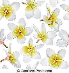 Tropical flowers seamless pattern - Frangipani (Plumeria)...