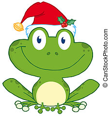 Happy Frog With Santas Hat Cartoon Character