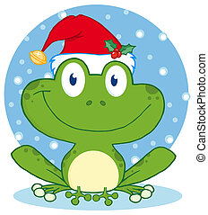 Christmas Happy Frog - Happy Frog With Santa's Hat