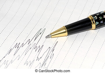 Pen and line graph