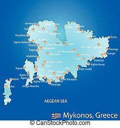 Island of Mykonos in Greece map on blue background