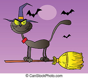 Halloween Witch Cat On A Broomstick - Black Cat Which Fly A...