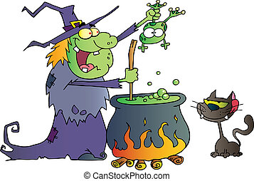 Crazy Witch With Black Cat - Cat Watching An Ugly Halloween...