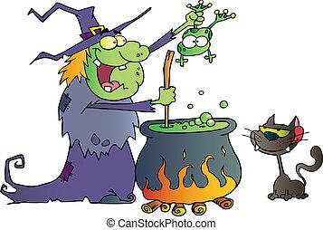 fou, sorcière, à, noir, chat