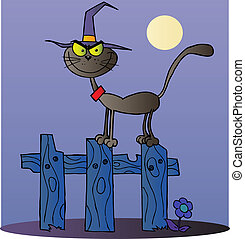 Black Cat Witch On A Fence