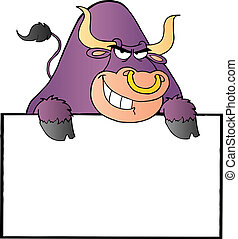 Purple Bull And Blank Sign