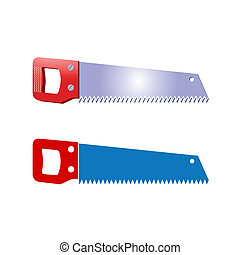 saw - Illustration of a blue hand saw with a red handle