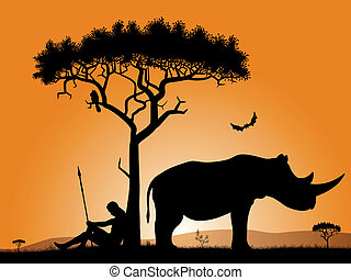 Dawn in Africa - Savannah in the morning. Silhouettes of a...