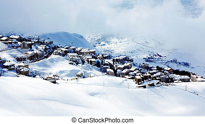 Winter mountain village landscape with snow and cute little...