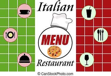 Italian restaurant menu on marble background, vector...