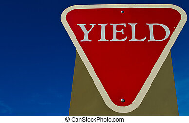 Yield signboard - picture of a signboard showing yield, with...