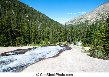Mountain River from the glacier in Rocky Mountains in summer