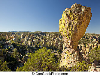 Stone Hoodoos at Chiricahua Nationa - Balanced Rock and...