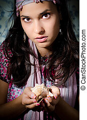 Fortune-teller - Young woman playing fortune-teller
