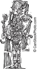 Mayan Woodcut Style 2 - Mayan warrior designed after...