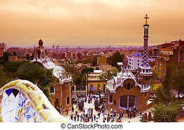 Park Guell at sunset, Barcelona, Spain - Park Guell designed...