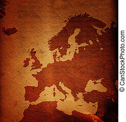 Grungy Europe map - Old and dirty grunge Europe map, paper...